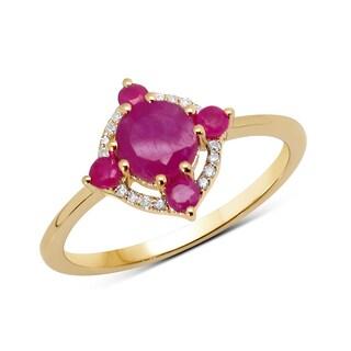 Malaika 14k Yellow Gold 4/5ct TGW Ruby and White Diamond Ring