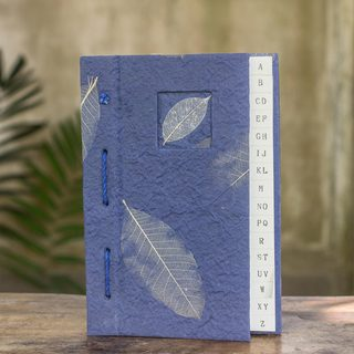 Handcrafted Saa Paper 'Heavenly Nature' Address Book (Thailand)
