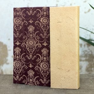 Handcrafted Saa Paper 'Brown Floral' Journal (Thailand)