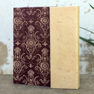 Handmade Saa Paper 'Brown Floral' Journal (Thailand)