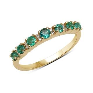 Malaika 14k Yellow Gold 2/5ct TGW Zambian Emerald and White Diamond Ring