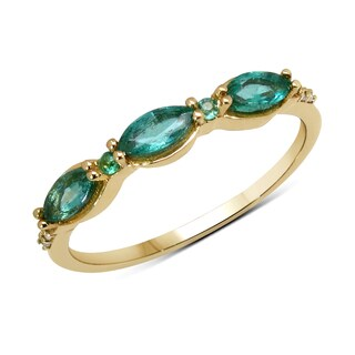 Malaika 14k Yellow Gold 2/5ct TGW Zambian Emerald and White Diamond Ring