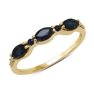 Malaika 14k Yellow Gold 5/8ct TGW Blue Sapphire and White Diamond Ring