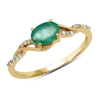 Malaika 14k Yellow Gold 1/2ct TGW Zambian Emerald and White Diamond Ring