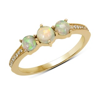 Malaika 14k Yellow Gold 1/2ct TGW Ethiopian Opal and White Diamond Ring