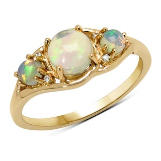 Malaika 14k Yellow Gold 3/4ct TGW Ethiopian Opal and White Diamond Ring