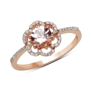 Malaika 14k Rose Gold 3/5ct TGW Morganite and White Diamond Ring