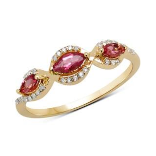 Malaika 14k Yellow Gold 2/5ct TGW Pink Tourmaline and White Diamond Ring