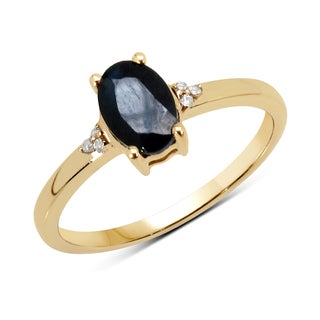Malaika 14k Yellow Gold 1ct TGW Blue Sapphire and White Diamond Ring