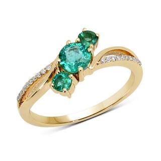 Malaika 14k Yellow Gold 5/8ct TGW Zambian Emerald and White Diamond Ring