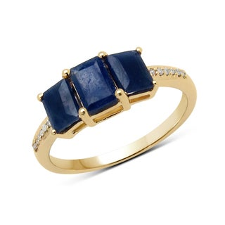 Malaika 14k Yellow Gold 1 1/2ct TGW Blue Sapphire and White Diamond Ring