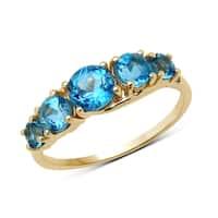 Malaika 14k Yellow Gold 1 1/2ct TGW Swiss Blue Topaz and White Diamond Ring