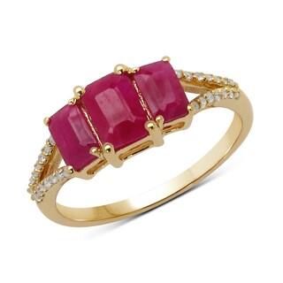 Malaika 14k Yellow Gold 1 2/5ct TGW Ruby and White Diamond Ring