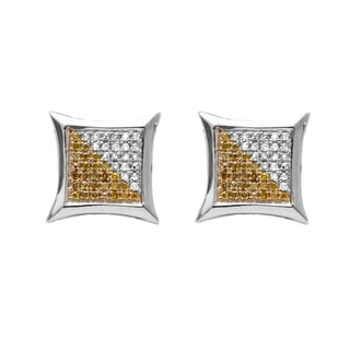 Sterling Silver 1/4ct TDW White and Yellow Round Diamond Micro Pave Setting Kite Shape Stud Earrings (I-J, I2-I3)
