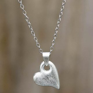 Handmade Sterling Silver 'Strong Heart' Necklace (Peru)