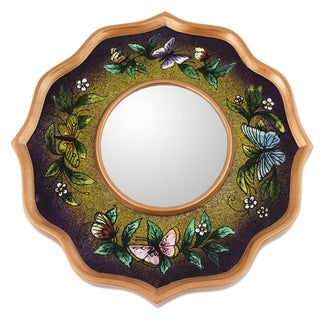 Handcrafted Reverse Painted Glass 'Purple Butterfly Sky' Mirror (Peru)