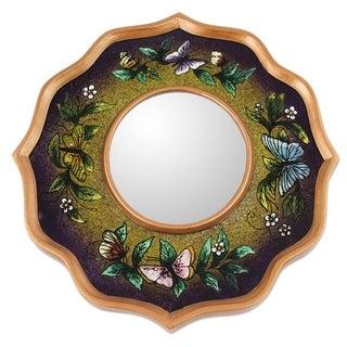 Handmade Reverse Painted Glass 'Purple Butterfly Sky' Mirror (Peru) - Green/Purple - N/A