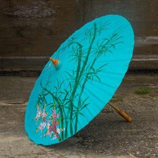 Handcrafted Saa Paper 'Blue Bamboo' Parasol (Thailand)|https://ak1.ostkcdn.com/images/products/11970837/P18854638.jpg?impolicy=medium