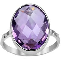 Orchid Jewelry 7.60ct Genuine Amethyst Sterling Silver Ring