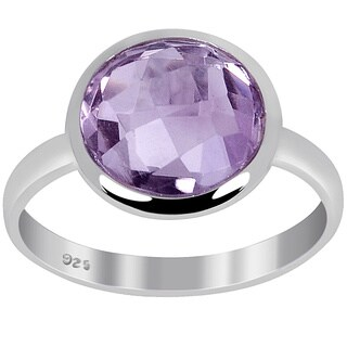 Orchid Jewelry 3 1/5 CTW Genuine Amethyst 925 Sterling Silver Ring