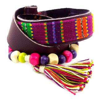 Handcrafted Leather Cotton 'Carnaval in Atitlan' Bracelet (Guatemala)