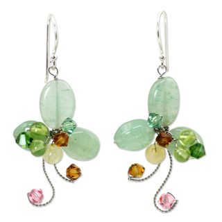 Sterling Silver 'Glistening Clover' Multi-gemstone Earrings (Thailand)