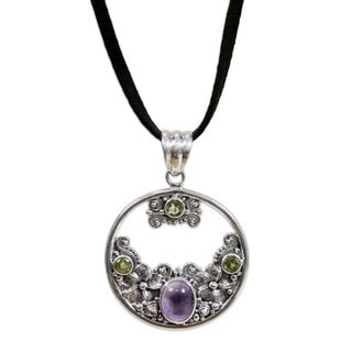 Silver 'Frangipani Moon' Peridot Amethyst Necklace (Indonesia)