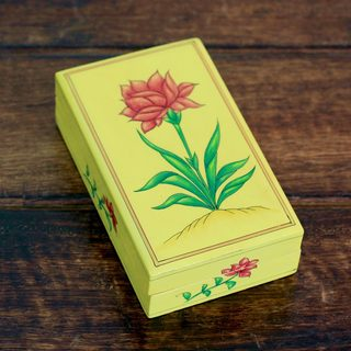 Handcrafted Papier Mache Pinewood 'Indian Wildflower' Box (India)