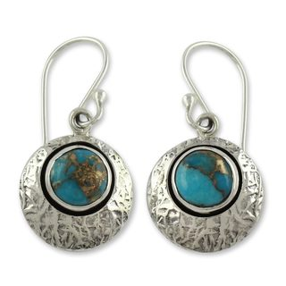 Sterling Silver 'Friendship Moons' Turquoise Earrings (India)