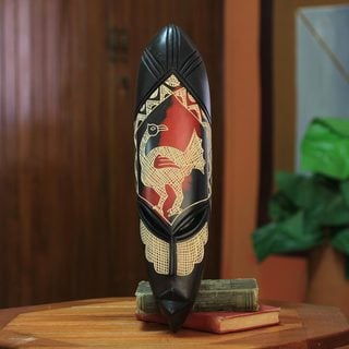 Handcrafted Sese Wood 'Sankofa Wisdom' Mask (Ghana)