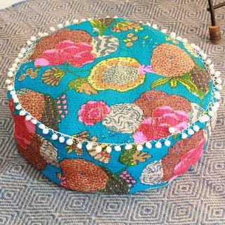 Handcrafted Cotton 'Blue India Dahlia' Ottoman Cover (India)