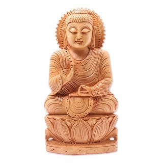 Handcrafted Kadam Wood 'Peace from Buddha' Sculpture (India)