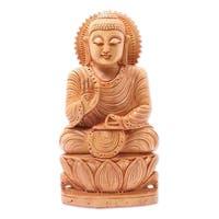 Handmade Kadam Wood Peace from Buddha Statue (India)