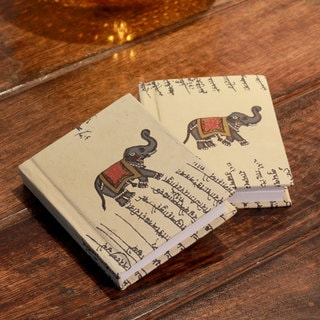 Set of 2 Handmade Paper 'Royal Elephants' Journals (India)