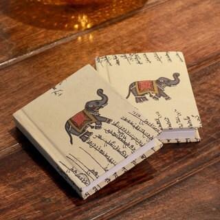 Handmade Set of 2 Paper 'Royal Elephants' Journals (India)
