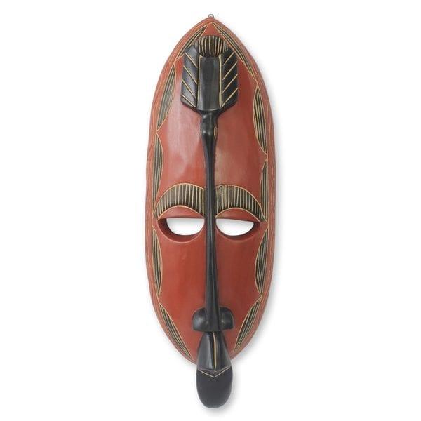 Handcrafted Sese Wood 'Royal Akan' Mask (Ghana)