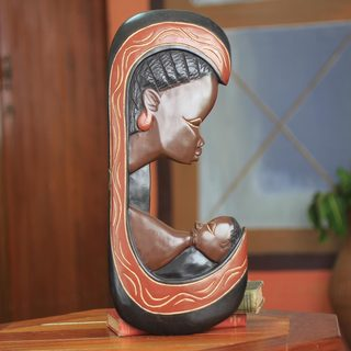 Handcrafted Sese Wood 'Motherly Love' Wall Sculpture (Ghana)