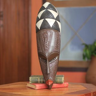 Handcrafted Sese Wood 'Eno' Mask (Ghana)