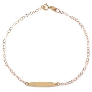 14k Italian Yellow Gold 7.25-inch Rolo Bar Bracelet
