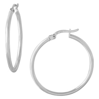 18k White Gold 1-inch 2-millimeter Click-top Round Hoop Earrings