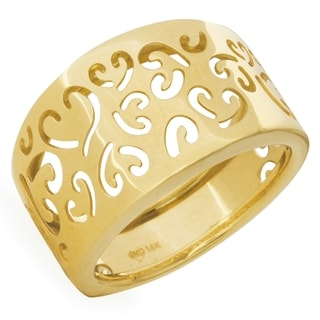 Ladie's 14k Yellow Gold Fancy Heart Ring (Size 7)