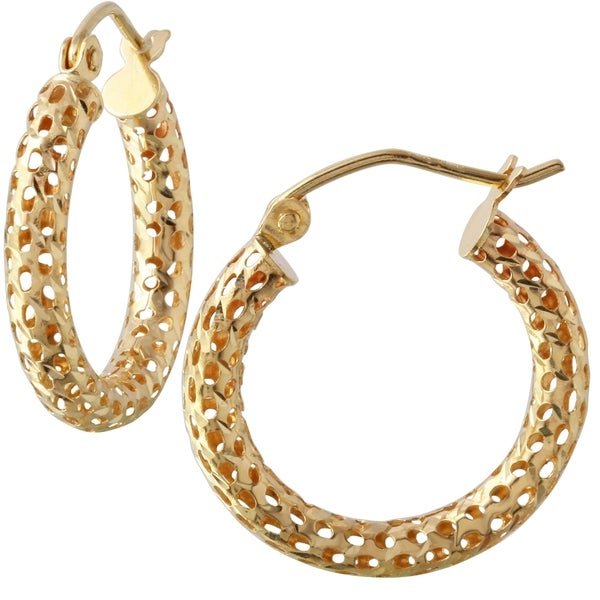381354a9f Shop 14k Yellow Gold 3-millimeter Cut-out Hoop Earrings - Free Shipping  Today - Overstock - 11971408