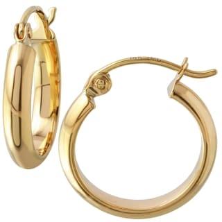 10k Yellow Gold 2-millimeter High Polish Matte Hoop Earrings