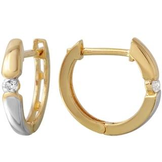 14k Yellow/White Gold Diamond Huggie Hoop Earrings