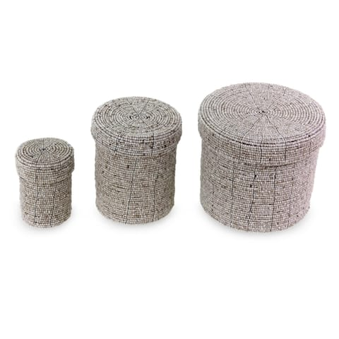 Handmade Beaded Beige Nesting Box, Set of 3 (Indonesia)