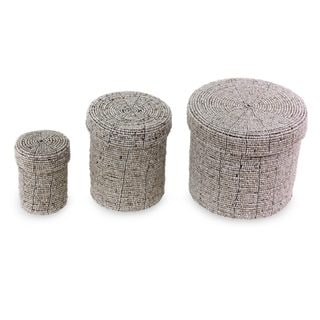 Set of 3 Handcrafted Beaded 'Sassy Beige' Nesting Boxes (Indonesia)
