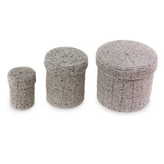 Set of 3 Handmade Beaded 'Sassy Beige' Nesting Boxes (Indonesia)
