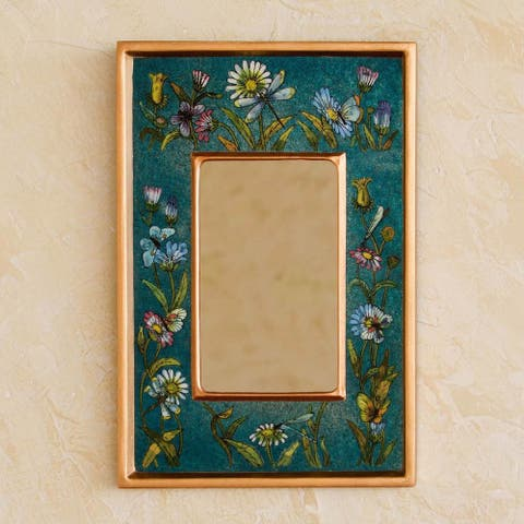 Handmade Reverse Painted Glass 'Turquoise Fields' Mirror (Peru) - Blue/Green/Multi
