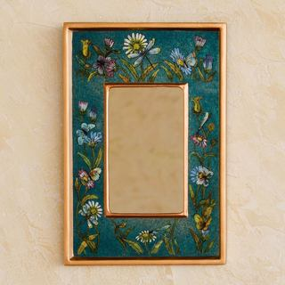 Handcrafted Reverse Painted Glass 'Turquoise Fields' Mirror (Peru)
