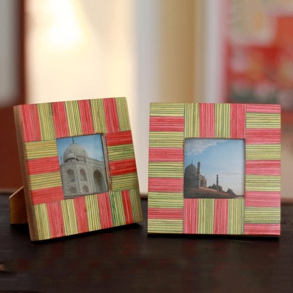 Handmade Set Of 2 Indian Elm Wood Dream Of Delhi Photo Frames